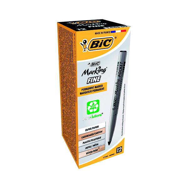 Bic Pocket Permanent Marker Bullet Tip Black (12 Pack) 8209021