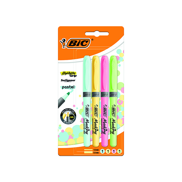 Assorted Bic Highlighter Grip Assorted Pastel (4 Pack) 964859