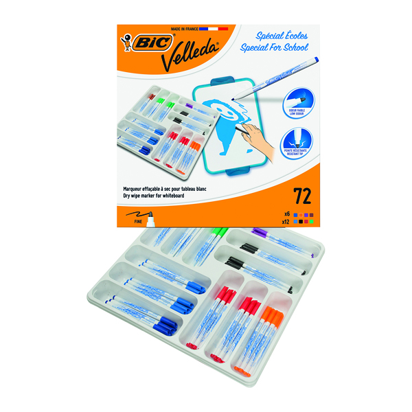Assorted Bic Velleda 1721 Drywipe Marker Fine Tip Assorted (72 Pack) 875790