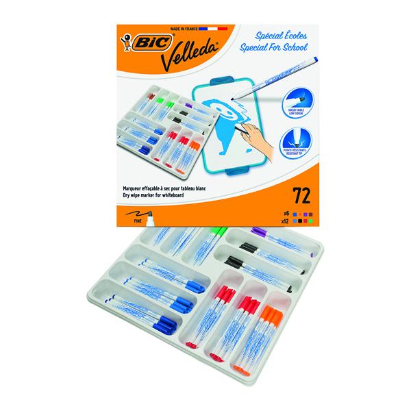 Bic Velleda 1721 Drywipe Marker Fine Tip Assorted (72 Pack) 875790