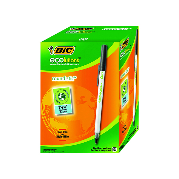 Black Bic ECOlutions Ballpoint Pen Medium Black (60 Pack) 893239