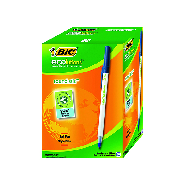 Blue Bic ECOlutions Ballpoint Pen Medium Blue (60 Pack) 893240