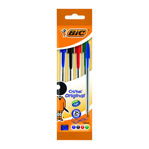 Assorted Bic Assorted Cristal Medium Ballpoint 4 Pen Pouch 8308621
