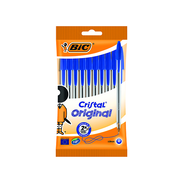 Blue Bic Cristal Ballpoint Pen Medium Blue (10 Pack) 830863