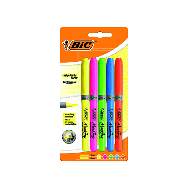 Assorted BIC Highlighter Grip Assorted (5 Pack) 894324