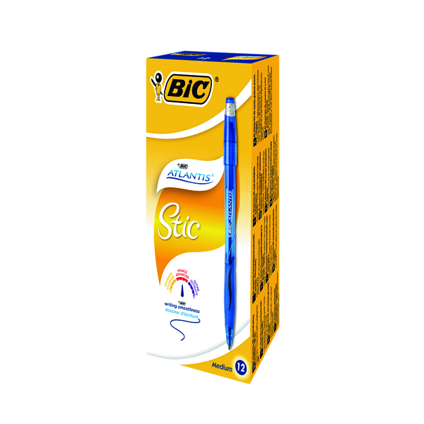 Blue Bic Atlantis Stic Ballpoint Pen Medium Blue (12 Pack) 837387