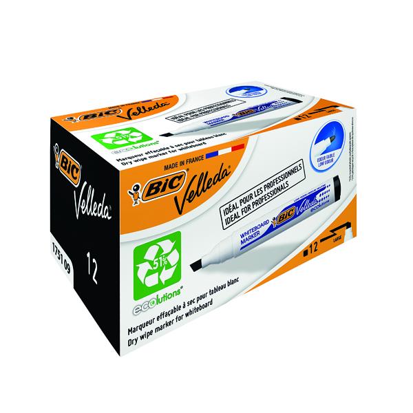 Black Bic Velleda 1751 Whiteboard Marker Chisel Tip Black (12 Pack) 1199175109