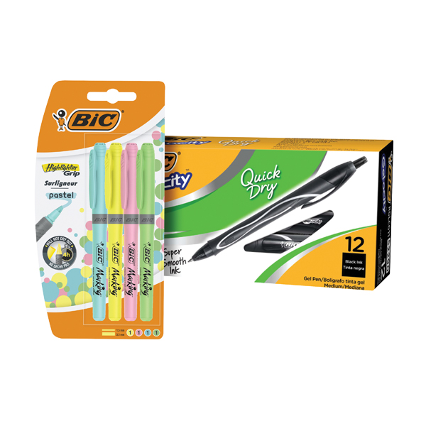Bic Gel-ocity Quick Dry Pen Black (12 Pack) BC810748 FOC Bic Highlighter Grip Pastel (4 Pack) 964859