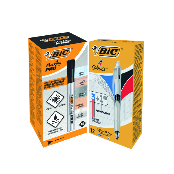 Assorted Bic 4 Colours Ballpoint Pen and Pencil (12 Pack) FOC Bic Marking PRO Markers Black Pk12 BC810750