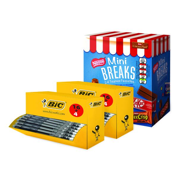 Bic Gelocity Pen Black (40 Pack) FOC Nestle Mini Breaks BC810752