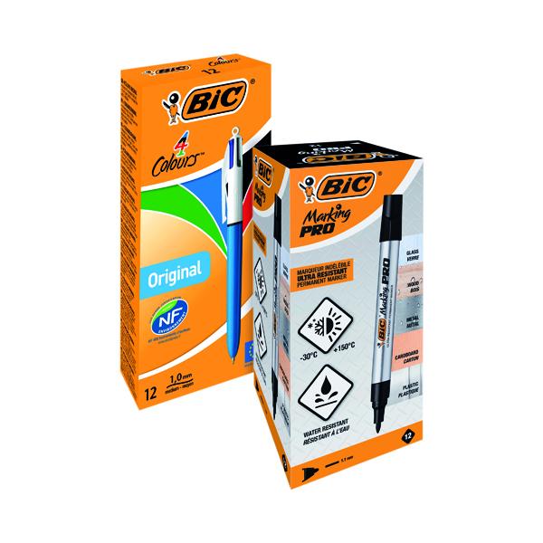 Assorted Bic 4 Colour Pen FOC Bic Permanent Markers Black (12 Pack)
