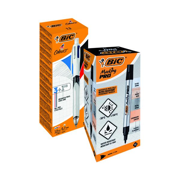 Assorted Bic 4 Colour Mech Pencil FOC Bic Permanent Markers Black (12 Pack)
