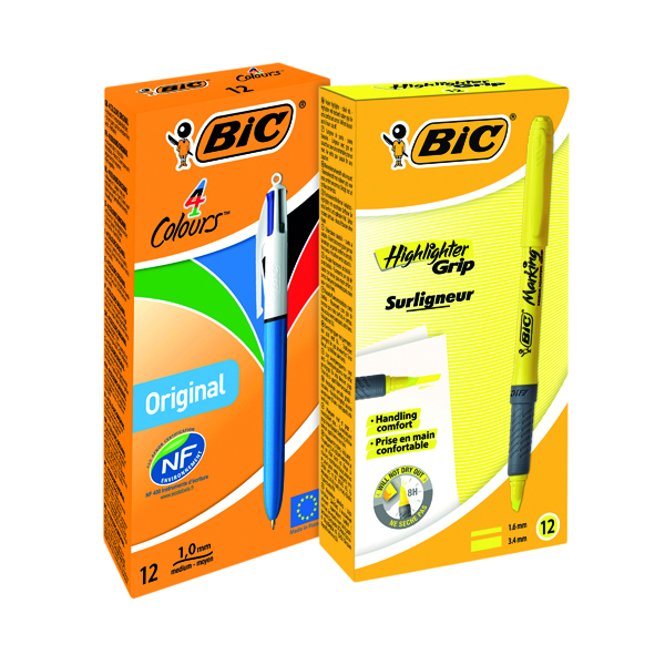 Assorted Bic 4Colours Pen (12 Pack) FOC Brite Highlighter Yellow BC810760