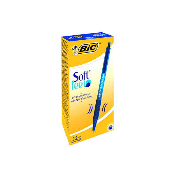 Blue Bic SoftFeel Clic Retractable Ballpoint Pen Blue (12 Pack) 837398