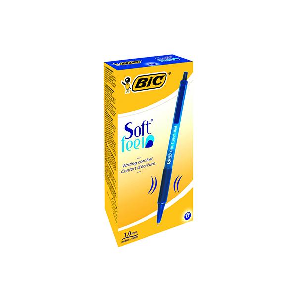 Bic SoftFeel Clic Retractable Ballpoint Pen Blue (12 Pack) 837398