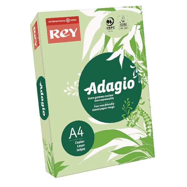 Single Colour Adagio Bright Green A4 Coloured Card 160gsm (250 Pack)201.1212