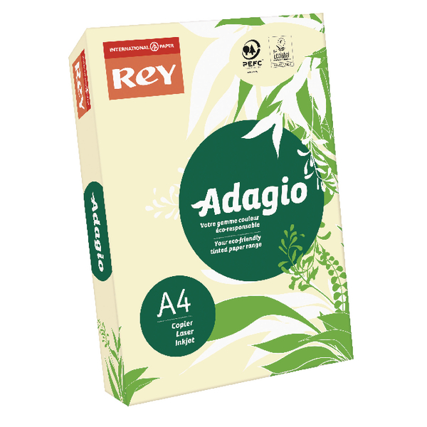 Single Colour Adagio Pastel Ivory A4 Coloured 160gsm Card (250 Pack) 201.1204