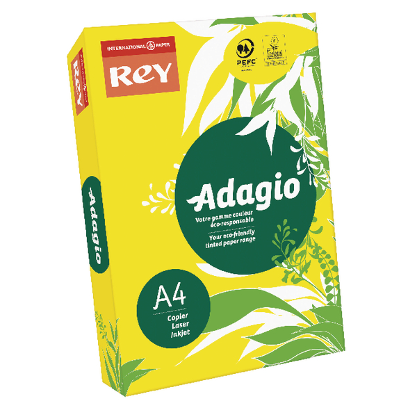 Single Colour Adagio Intense Yellow Coloured Card 160gsm A4 (250 Pack) 201.1227