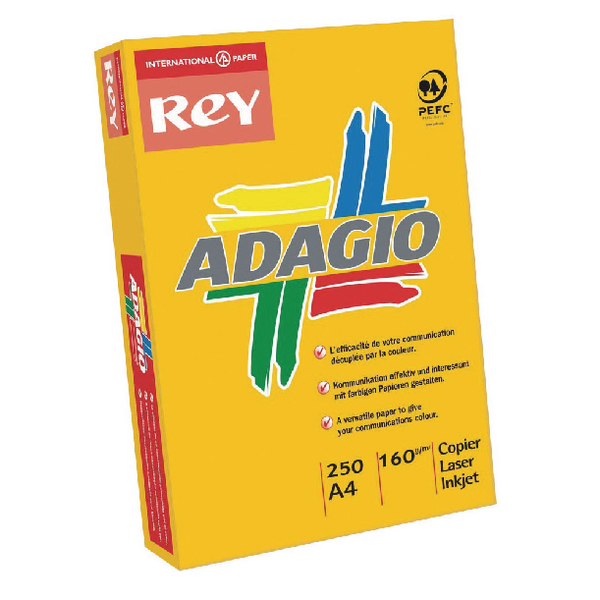 Single Colour Adagio Intense Orange A4 Coloured Card 160gsm (250 Pack) 201.1224