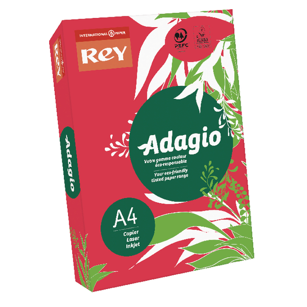 Single Colour Adagio Intense Red A4 Coloured Card 160gsm (250 Pack) 201.1226