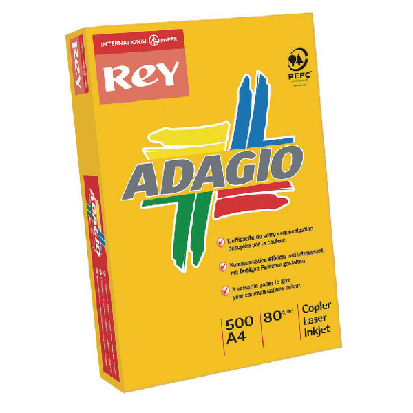 Assorted Colours Adagio Bright Assorted A4 Coloured Card 160gsm (250 Pack) 201.2000