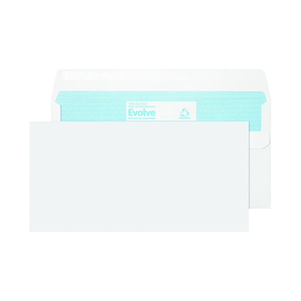 White Plain Evolve DL Envelope Recycled Wallet Self Seal 90gsm White (1000 Pack) RD7882