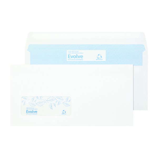 Evolve DL Envelope Recycled Window Wallet Self Seal 90gsm White (1000 Pack) RD7884