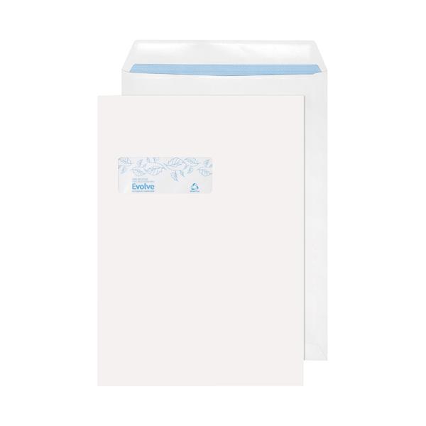 Evolve C4  Envelopes Window Recycled Pocket Self Seal 100gsm White (250 Pack) RD7892