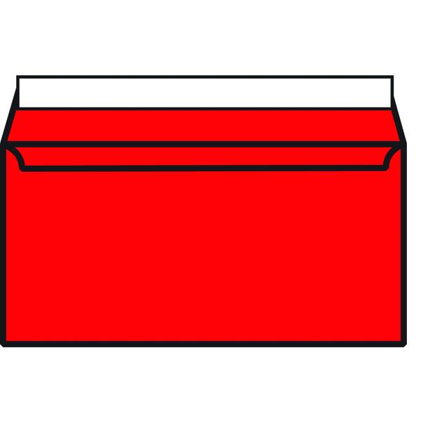 DL Wallet Envelope Peel and Seal 120gsm Pillar Box Red (250 Pack) 93016