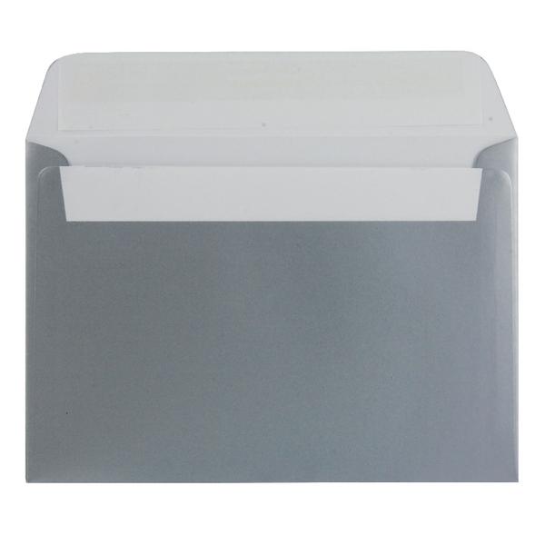 C6 Wallet Envelope Peel and Seal 130gsm Metallic Silver (250 Pack) 112