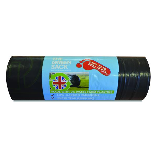 The Green Sack Medium Duty Refuse Sack on a Roll Black (15 Pack) GR0771