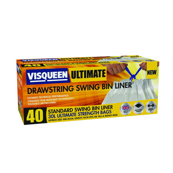 Binliner/Bags Visqueen Ultimate Drawstring Swing Bin Liner 30 Litre White (40 Pack) RS057767