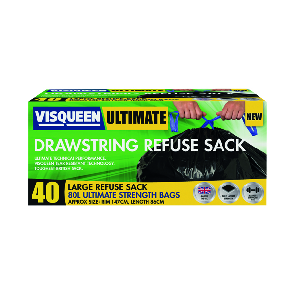 Binliner/Bags Visqueen Ultimate Drawstring Refuse Sack 80 Litre Black (40 Pack) RS057770