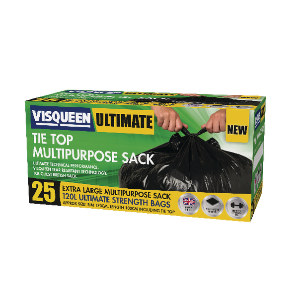 Binliner/Bags Visqueen Ultimate Tie Top Multipurpose Sack 120 Litre Black (25 Pack) RS057771
