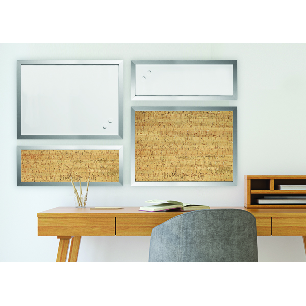 Bi-Office Personal Message Board Set Metallic Silver (4 Pack) SOR035