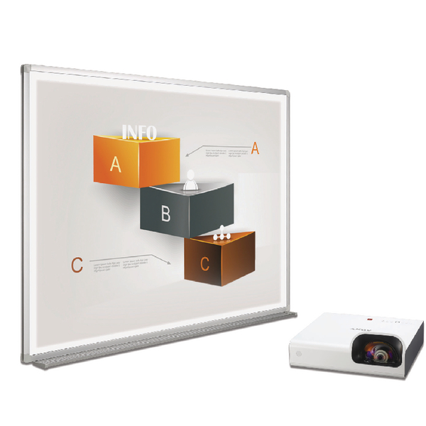 Bi-Office Bi-Bright 72in Whiteboard and Short Throw Projector BBS1891235