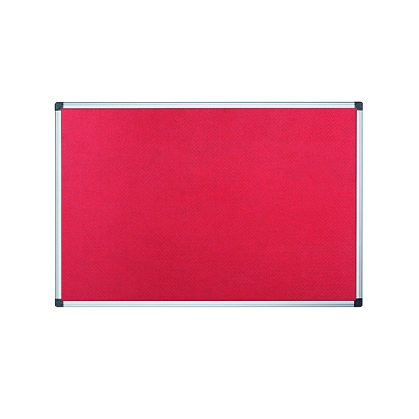 Felt Bi-Office Aluminium Trim Felt Noticeboard 1200x900mm Red FA0546170