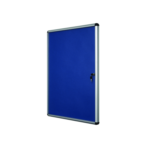 Glazed Bi-Office Lockable Internal Display Case 1110x930mm Blue Felt Aluminium Frame VT640107150