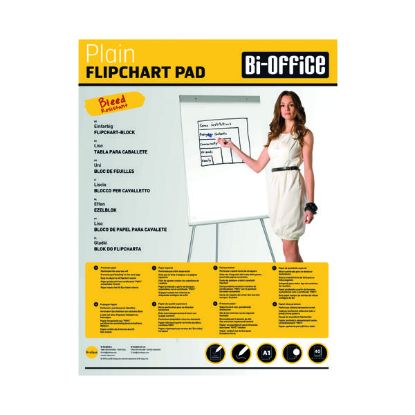 A1 Bi-Office Plain Flipchart Pad A1 40 Sheet (5 Pack) FL010101