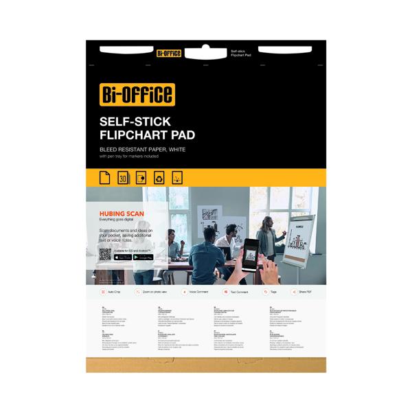 Bi-Office Self-Stick Flipchart Pad 635x780mm 30 Sheet White (2 Pack) FL128107
