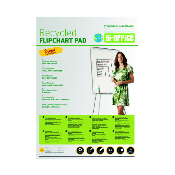 A1 Bi-Office Earth Plain Flipchart Pad A1 40 Sheet (5 Pack) FL0111801