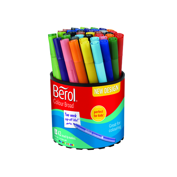 Berol Assorted Water-Based Colourbroad Pen Tub (42 Pack) S0375970