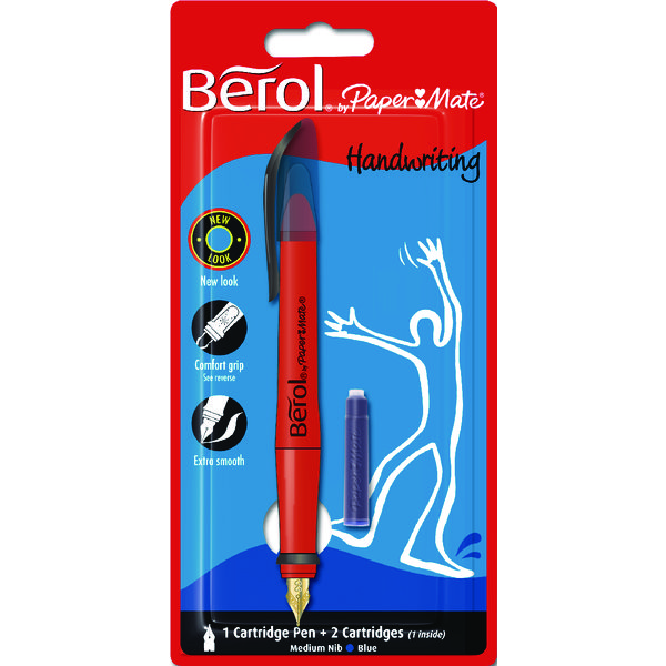Pen Berol Blue Handwriting Pen With 2 Cartridges S0953460