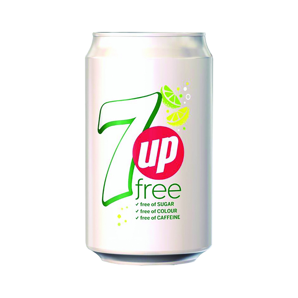 Cold Drinks 7 Up Free Lemon and Lime Carbonated Canned Soft Drink 330ml (24 Pack) 402049