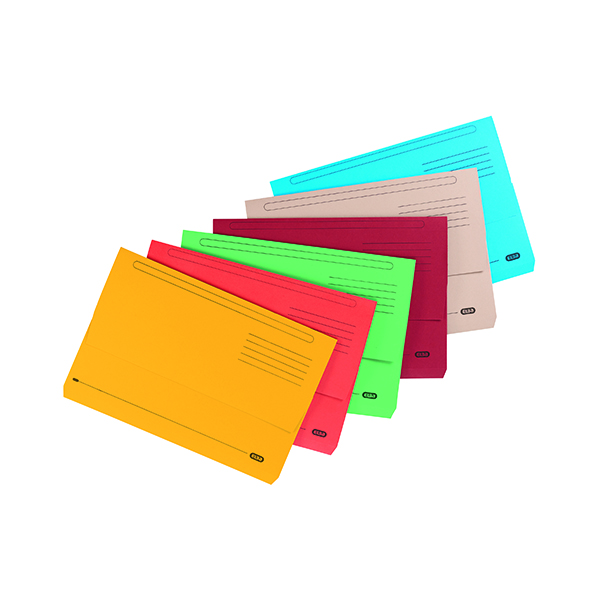 Foolscap Elba Strongline Document Wallet Bright Manilla Foolscap Assorted (10 Pack) 400099327
