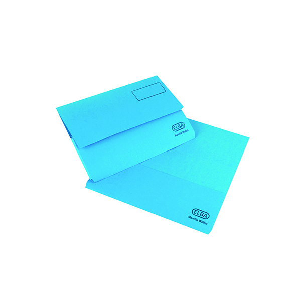 Elba Strongline Document Wallet Bright Manilla Foolscap Blue (25 Pack) 100090140