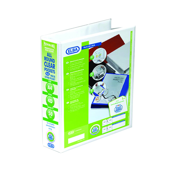 Elba Panorama 50mm 4 D-Ring Presentation Binder A4 White (10 Pack) 400001309