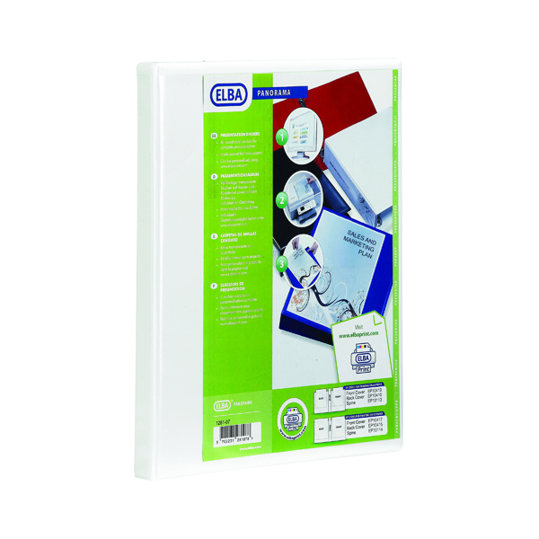 Elba Panorama 50mm 2 D-Ring Presentation Binder A4 White (4 Pack) 400007674