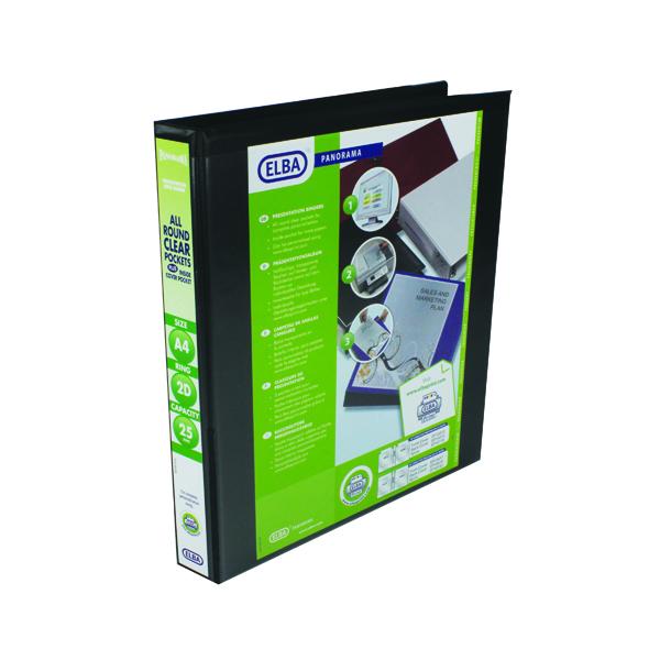 Elba Panorama  25mm 2 D-Ring Presentation Binder A4 Black (6 Pack) 400008411