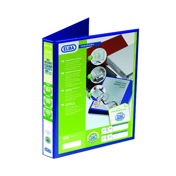 25mm Elba Panorama 25mm 2 D-Ring Presentation Binder A4 Blue (6 Pack) 400008412
